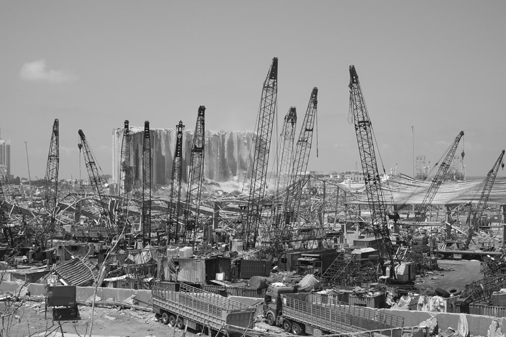 Port of Beirut Explosion. Photo taken days after the explosion.
